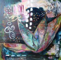 Lotus, Acrylic on canvas 30″x30″ $300