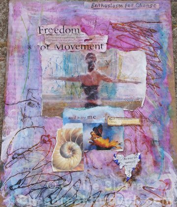 "Freedom of Movement – mixed media on paper, 11""x14"" $125"