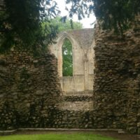 stone ruins, Glastonbury window