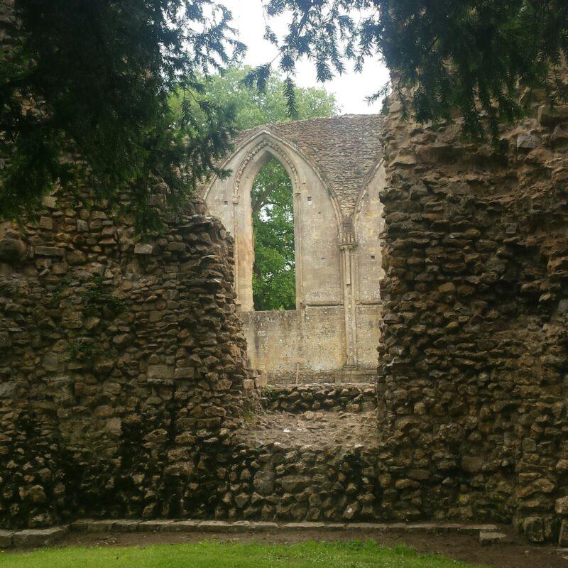 stone ruins, Glastonbury window